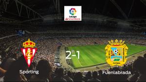 Triunfo del Real Sporting ante el CF Fuenlabrada (2-1)