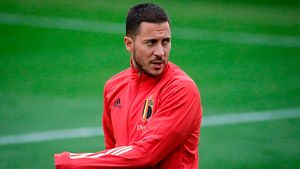 Hazard, durante un entrenamiento con Bélgica