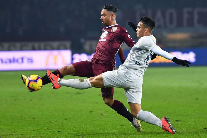 Lautaro Martínez en el partido de la Serie A italiana contra el Torino del 27 de enero de 2019. En las dos temporadas que ha disputado con el Inter ha jugado 69 partidos.