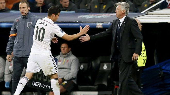 James Rodríguez y Carlo Ancelotti coincidieron en el Real Madrid la temporada 2014/15