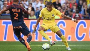 El lateral del Montpellier, Rubén Aguilar, durante el partido ante el PSG