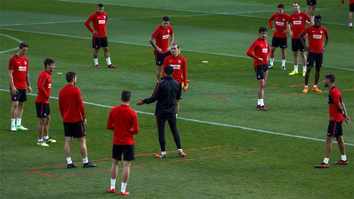 Último entrenamiento del Atlético de cara al partido contra el Real Madrid
