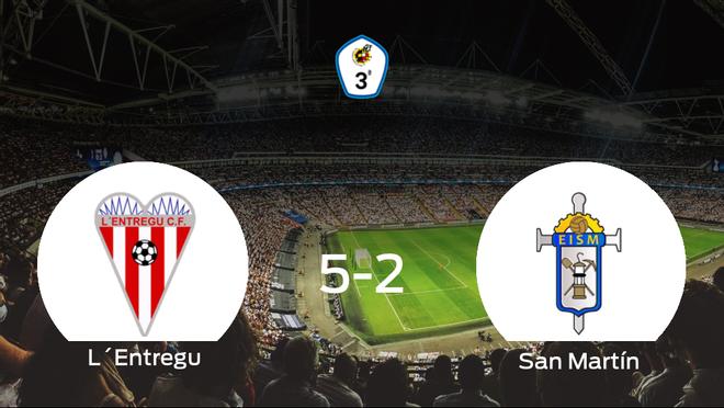 El L´Entregu suma tres puntos tras pasar por encima del San Martín (5-2)