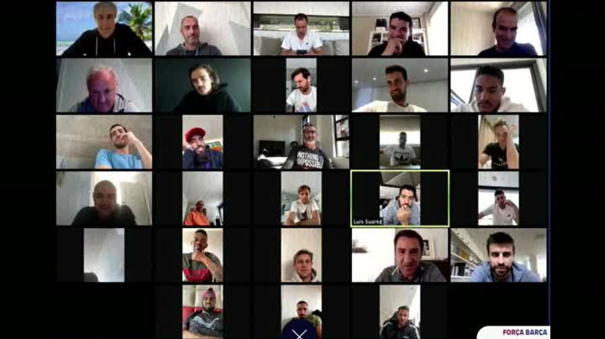Encuentro virtual entre toda la plantilla del FC Barcelona para ir todos a una