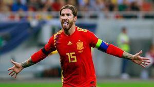 Sergio Ramos, defendiendo la camiseta de España