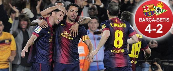 El Barça, liderado por Leo Messi, protagonizó una époica remontada frente al Betis y se queda a un paso del título de Liga