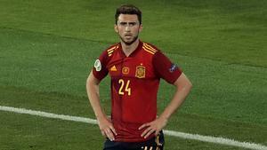 Aymeric Laporte, durante el partido de España contra Suecia