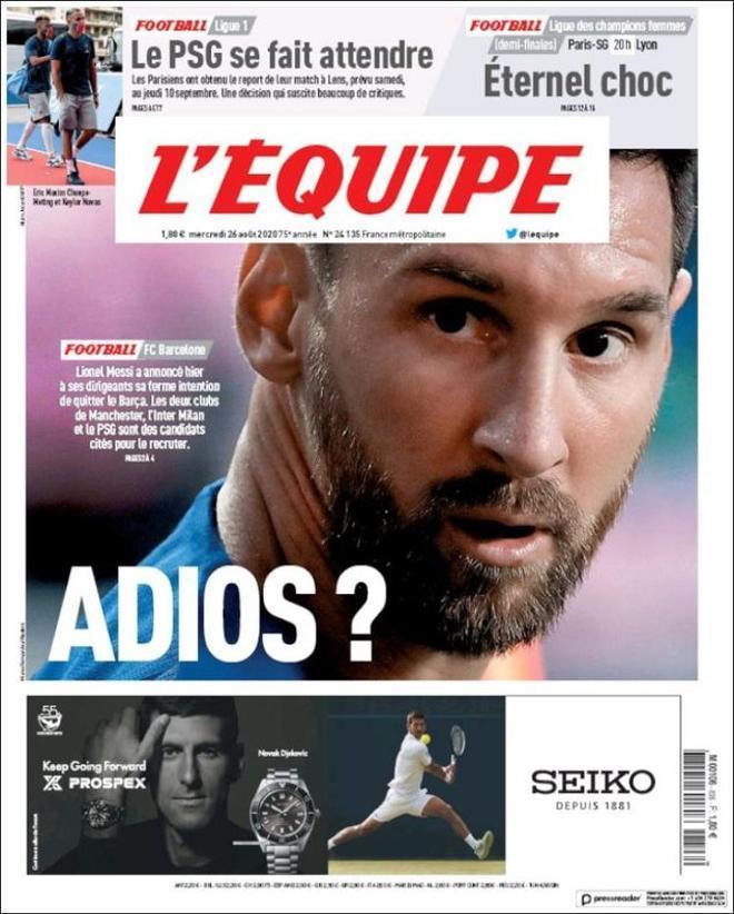 La portada de lÉquipe del 26 de agosto