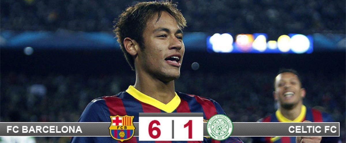 Neymar fue el gran protagonista de un Barça que goleó al Celtic para pasar como primero a los octavos de la Champions