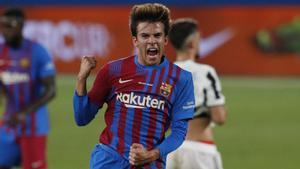 Riqui Puig celebrando su gol en el Gamper