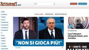 La portada de Tuttosport sobre la posible suspensión de la Serie A