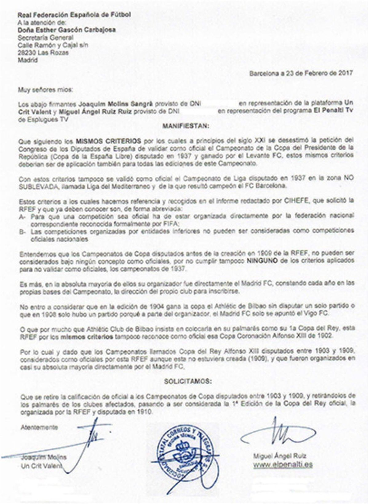 El documento enviado a la RFEF