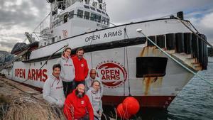 El barco de Open Arms, en Barcelona