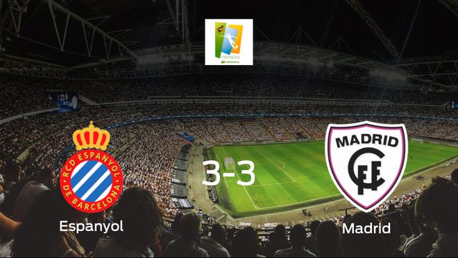 El Espanyol Femenino y el Madrid CFF se reparten los puntos tras su empate a tres