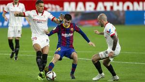 Pedri en acción durante el Sevilla-Barça de la Copa del Rey 2020/21