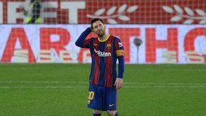 Leo Messi durante la ida de la semifinal de Copa contra el Sevilla