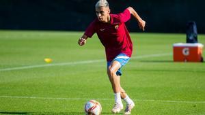 Kays Ruiz, en un entrenamiento con el filial azulgrana