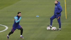 Messi, en el entreno de este sábado