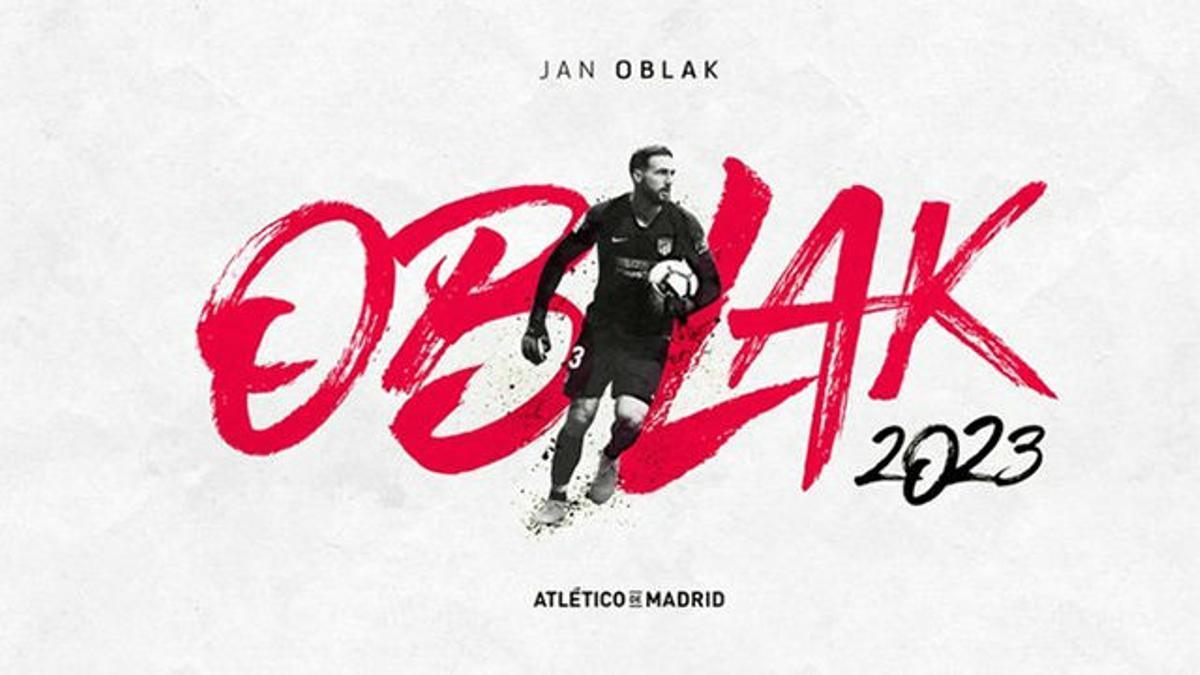 Oblak renovó con el Atlético hasta 2023
