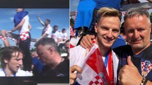 Modric y Rakitic en las fotos con el cantante Marko Perkovic Thompson en las celebraciones de la selección de Croacia