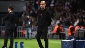Pep Guardiola, durante el partido contra el PSG