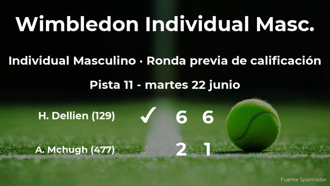 El tenista Hugo Dellien ganó al tenista Aidan Mchugh en la ronda previa de calificación de Wimbledon