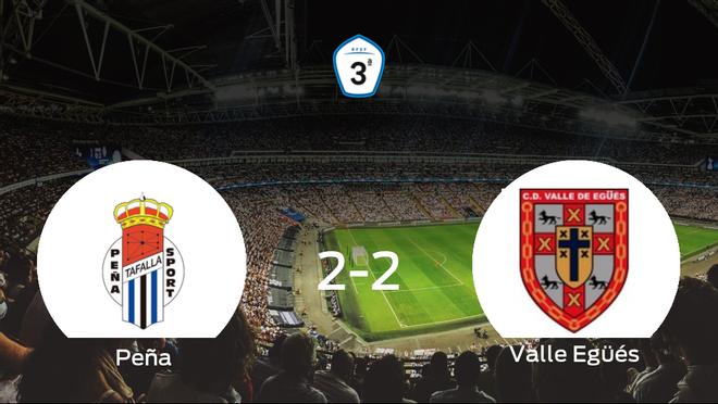 La Peña Sport y el Valle Egüés se reparten los puntos tras su empate a dos