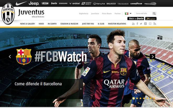 La imagen que abre la página web de la Juventus de Turín con el FC Barcelona como protagonista