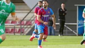 Sergio Kun Agüero, en una acción del entrenamiento contra la UE Cornellà (2-2) el pasado 13 de octubre en el campo Tito Vilanova de la Ciutat Esportiva del FC Barcelona
