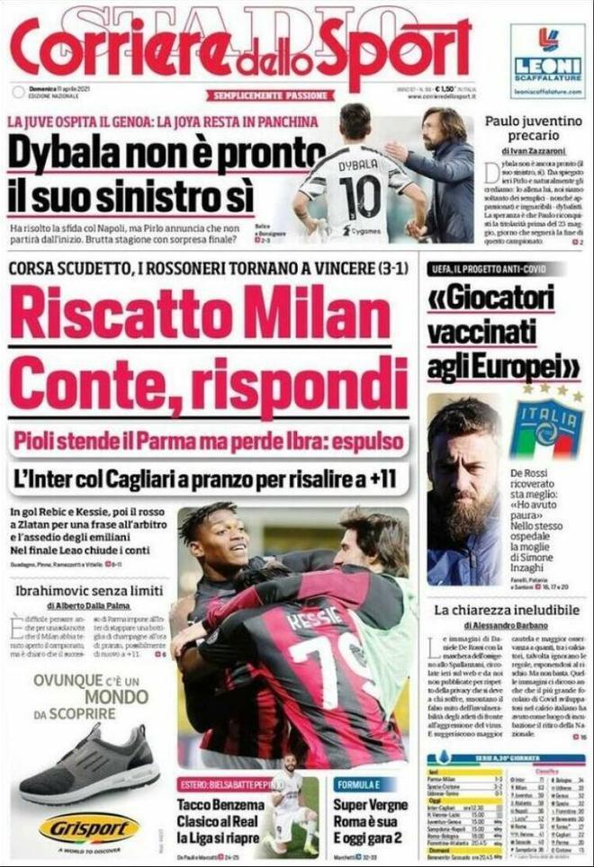 Portada Corriere dello Sport 11 de abril