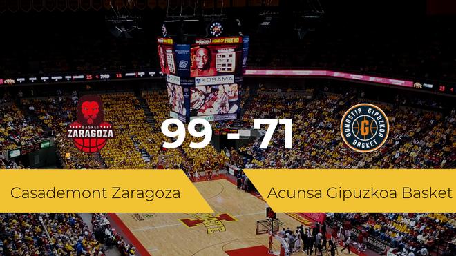 El Casademont Zaragoza gana al Acunsa Gipuzkoa Basket por 99-71
