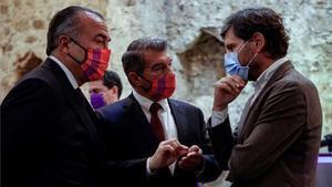 Yuste, Laporta y Mateu, en una imagen de archivo