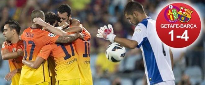 Messi, abrazado por sus compañeros en Getafe