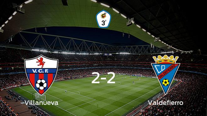 El Villanuevay el Valdefierrose reparten los puntos y empatan 2-2