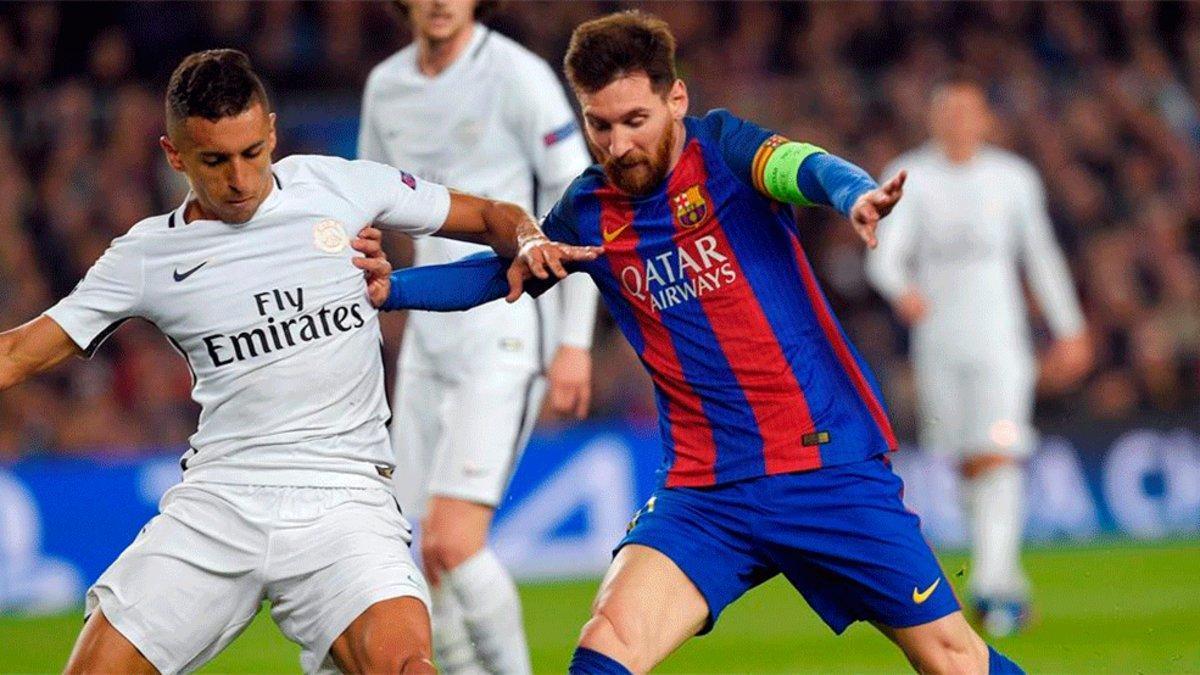 Marquinhos y Messi, durante el último Barça-PSG