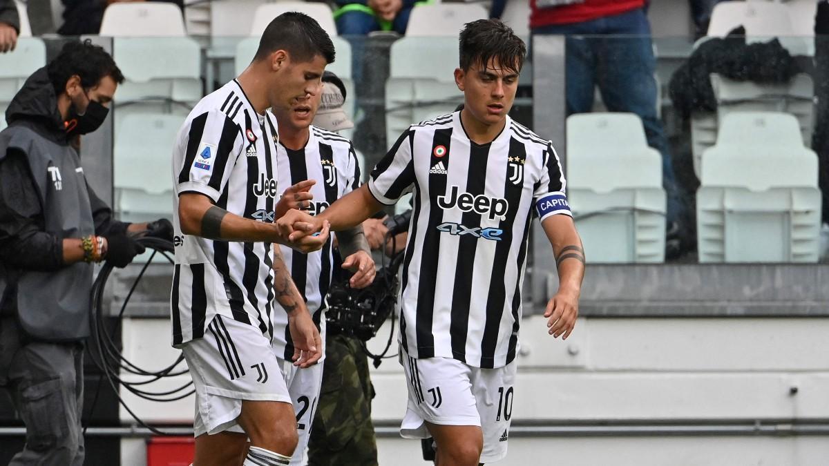 Morata y Dybala, antes de ser sustituidos por lesión ante la Sampdoria