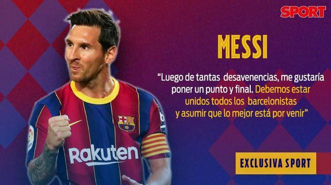 Las declaraciones de Messi en exclusiva para SPORT: Debemos unirnos