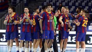 Los jugadores del Barcelona, tras vencer al Fraikin Granollers.