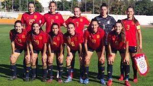 Las jugadoras españolas, antes del encuentro