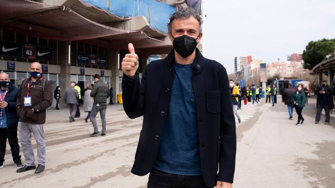 Luis Enrique, seleccionador nacional, durante la jornada electoral en el Camp Nou
