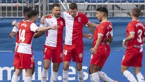 El Girona celebra un gol de Stuani