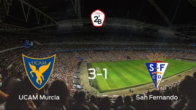 El UCAM Murcia se hace fuerte en casa y gana al San Fernando (3-1)
