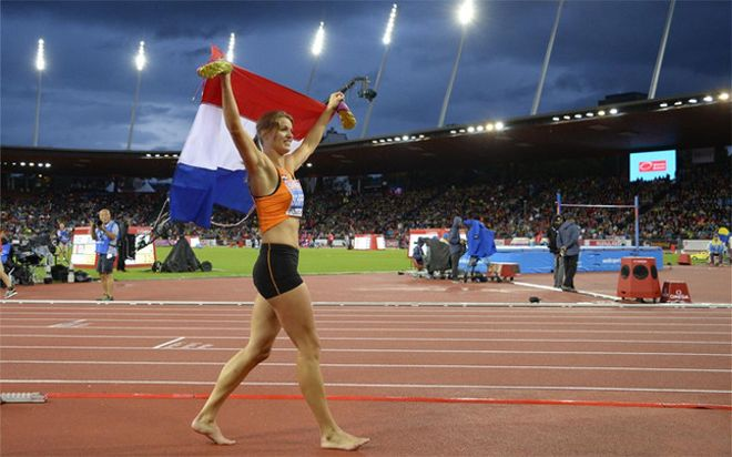 Schippers celebrando su segundo oro en Zúrich