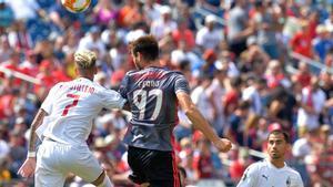 Ferro durante un partido con el Benfica