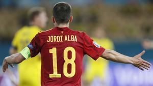 Jordi Alba, durante el partido de la selección española contra Suecia