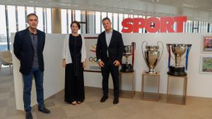 La Secretària Anna Caula, con el Director General de SPORT, David Casanovas y el director, Lluis Mascaró