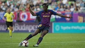 Oshoala, la primera azulgrana en marcar en una final de Champions