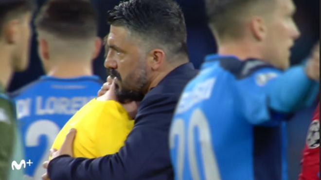 El cariñoso saludo entre Gattuso, Setién... y Messi
