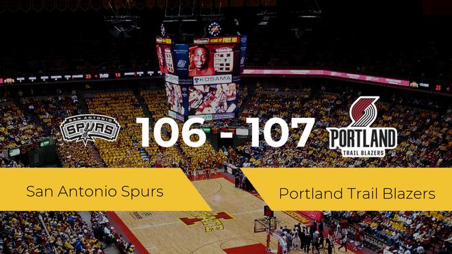 Portland Trail Blazers se impone por 106-107 frente a San Antonio Spurs