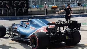 Alonso, saliendo a pista en Austin